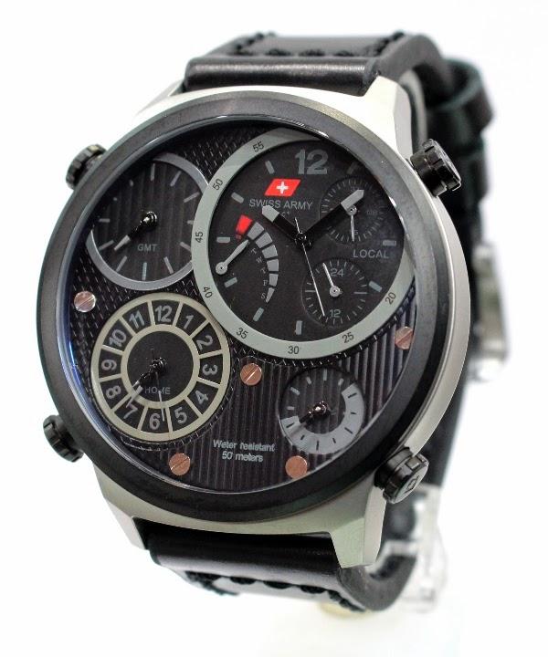 Swiss army 26623 silver hitam 4 waktu