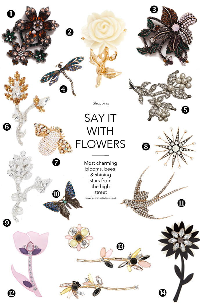 Jewellery trends Fall/Winter 2015 and most beautiful flower, butterfly and star brooches to buy right now.. via www.fashionedbylove.co.uk