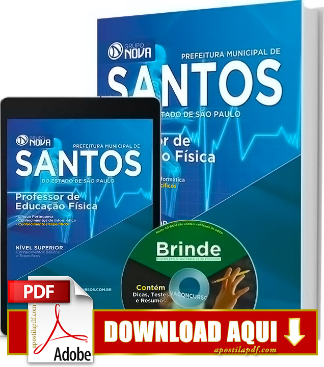 Apostila Prefeitura de Santos Professor de Educação Física PDF Grátis Download 2016
