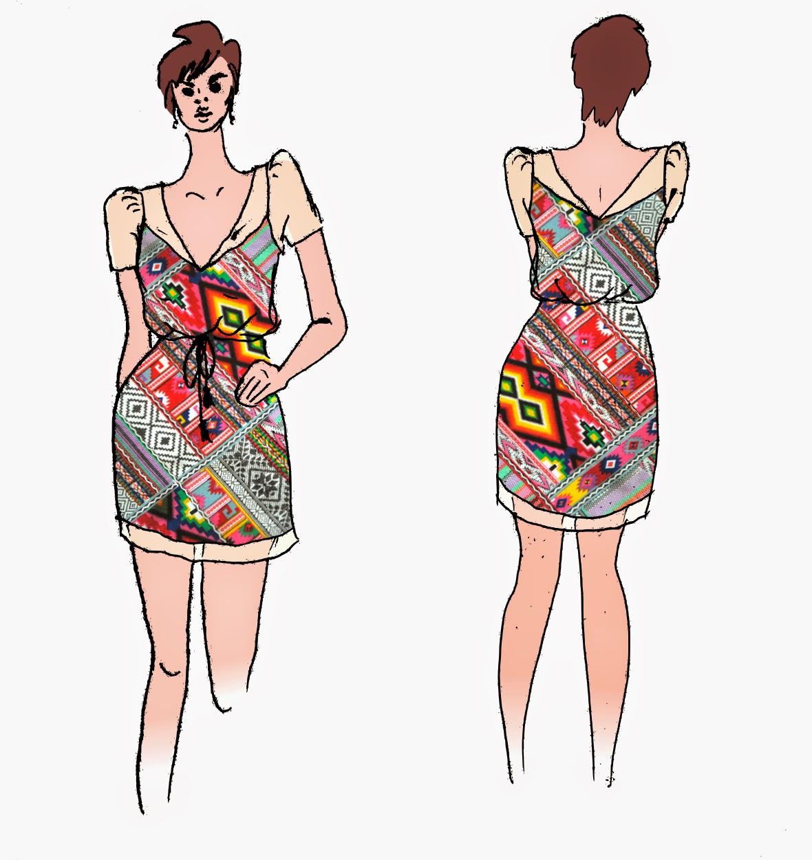 Croquis pour customiser une robe ethnique