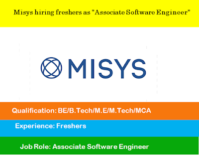 "Misys hiring freshers as ""Associate Software Engineer"""