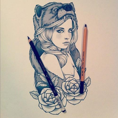 Tattoo Woman Flower Head: Taringa