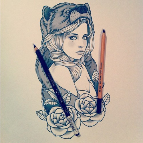 Wolf Bear Tattoo Drawings Girl Tumblr