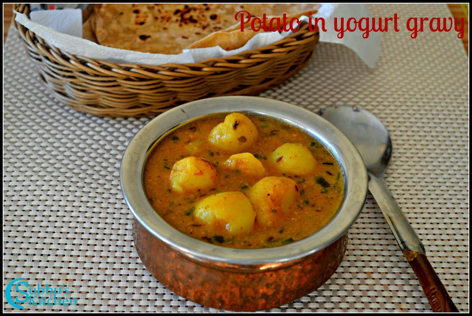 Potato-Curd Gravy Recipe | Potato in Yogurt Gravy Recipe