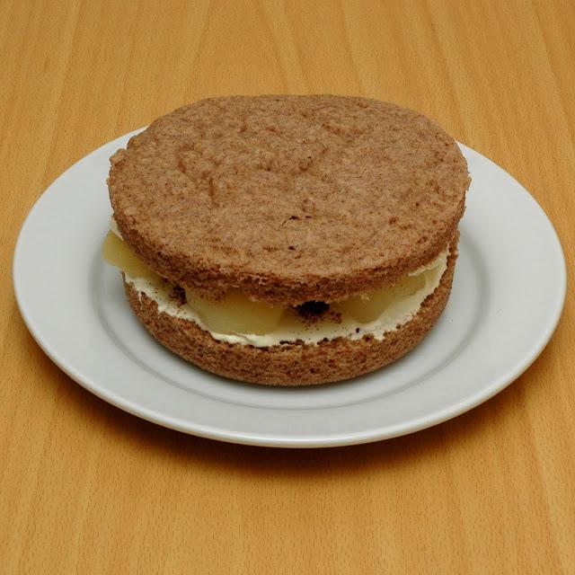 Low carb pear, cinnamon and cream sponge cake. Pear+2