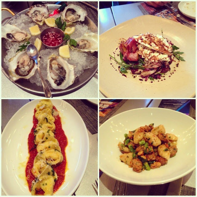 Oysters, Pasta, Salad