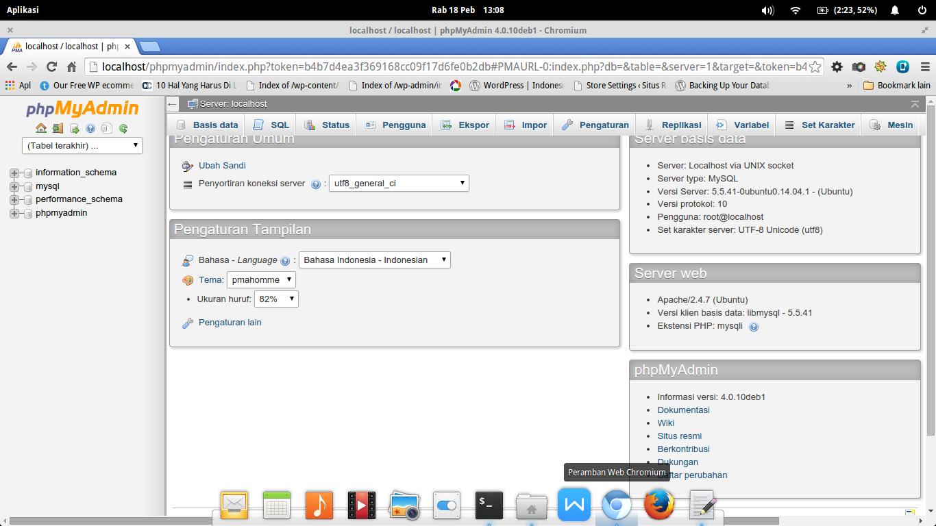Instal MySQL dan phpMyAdmin : Tampilan Dalam phpMyAdmin