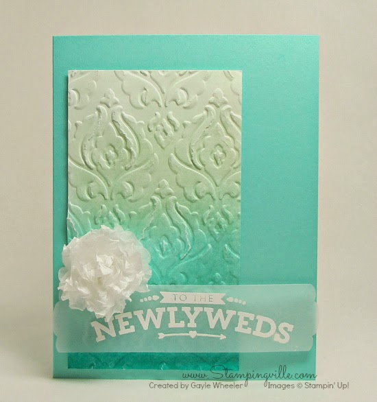 Embossed ombre Brocade Wedding Card | Stampingville #cardmaking #papercrafts #StampinUp
