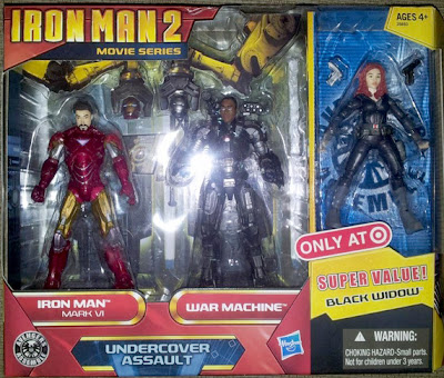 "Hasbro Iron Man 2 ""Under Cover Assault"" set with unmasked Iron Man, War Machine & Black Widow"