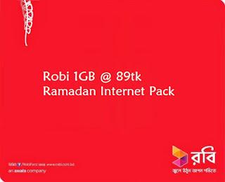 Robi 1GB @ 89tk Ramadan Internet Pack