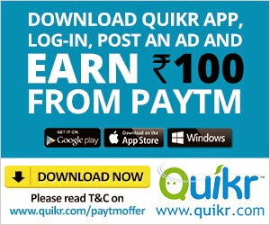 Download Quikr App & Post any Ad & Get Rs. 100 Cashback on Recharge of Rs. 50 on Paytm App