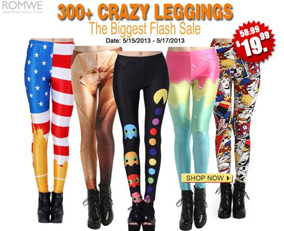 Romwe biggest leggings flash sale!