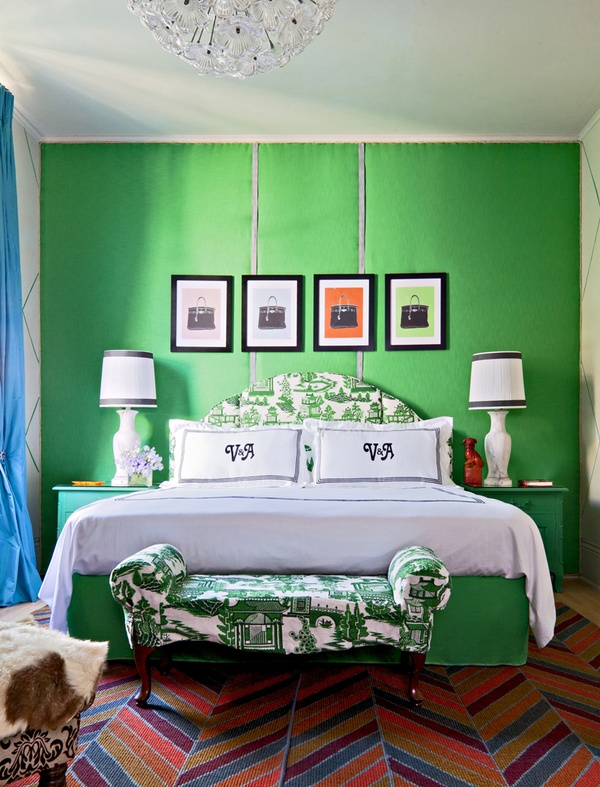 peak of tres chic bold wall colors in the bedroom would you do it