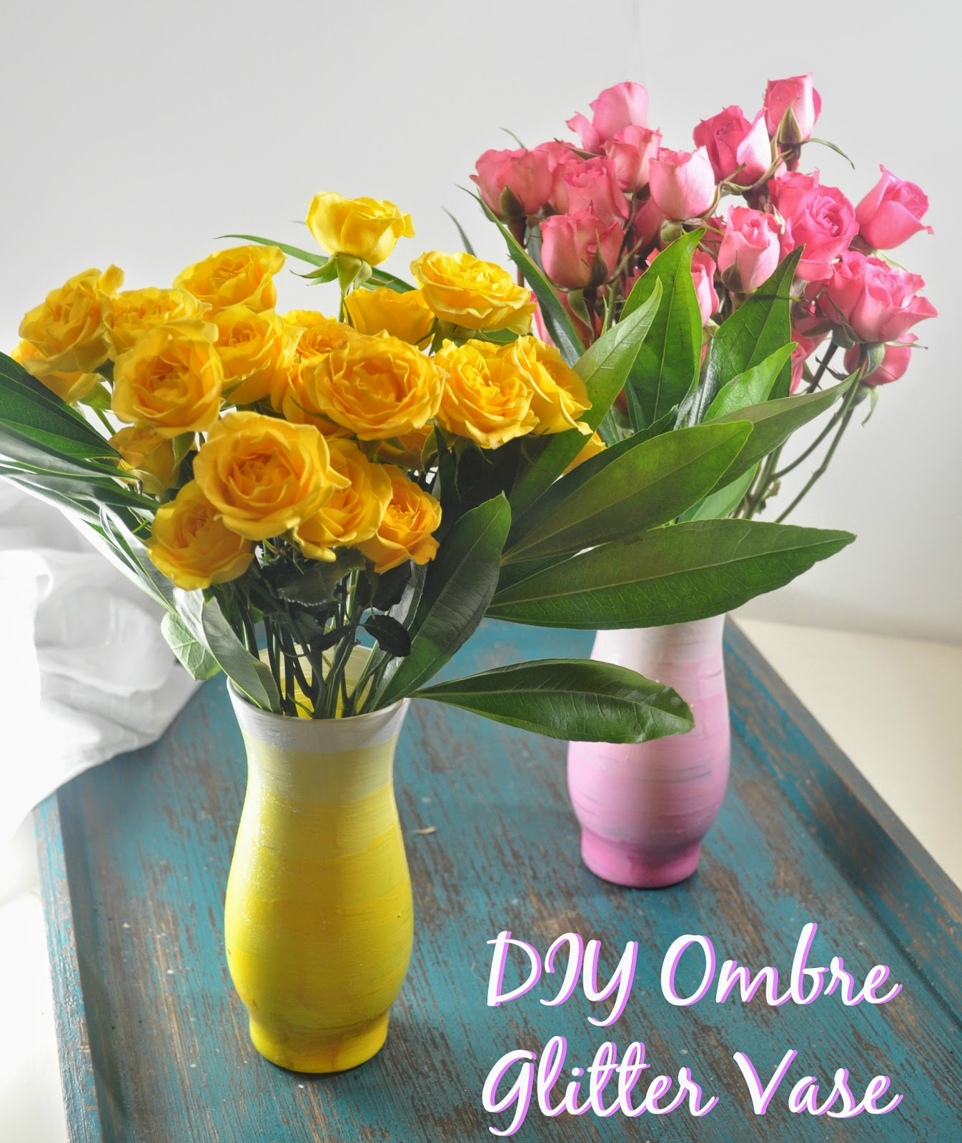 Diy ombre glitter vases for under 2 the food hussy so off we went to make diy ombre glitter vases reviewsmspy