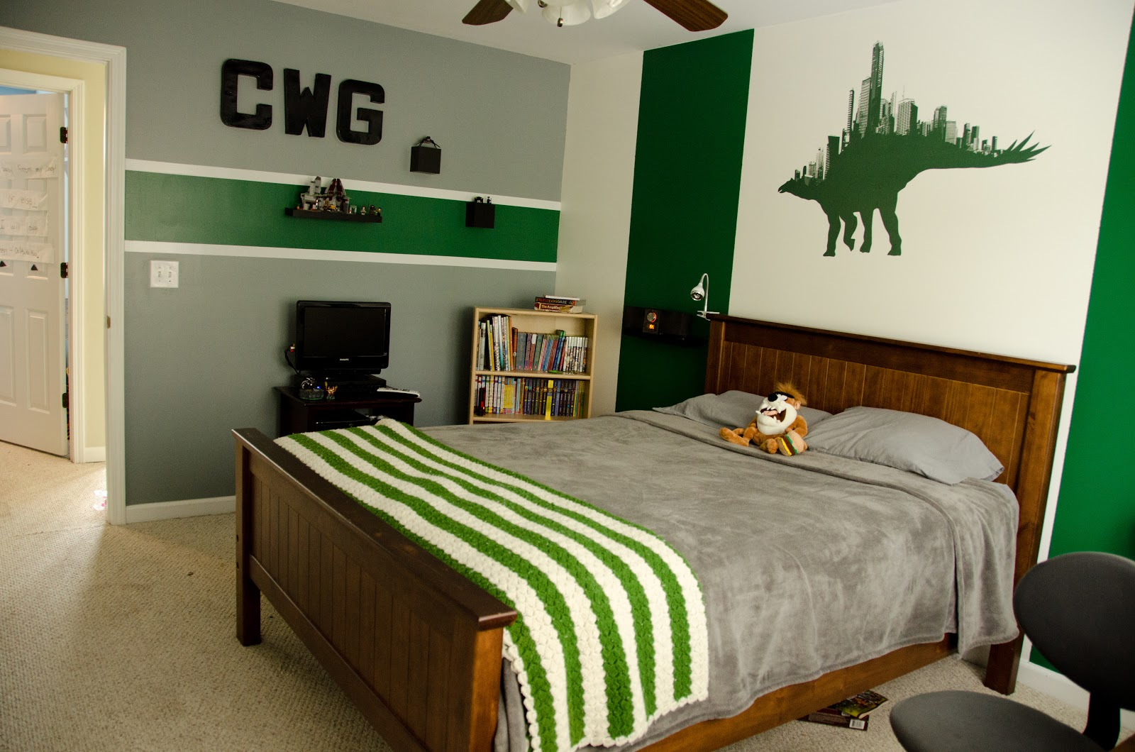 Green and grey boys bedroom viewing gallery