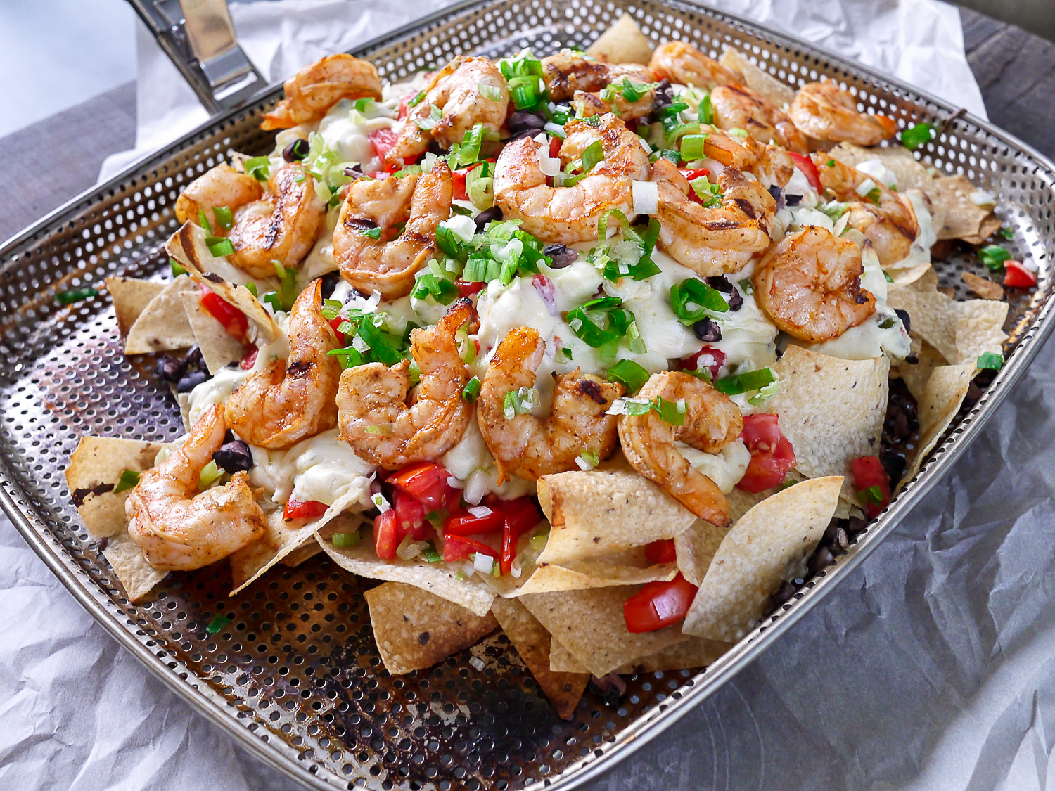 Barbells and Bellinis: Grilled Shrimp and Pepper Jack Cheese Nachos