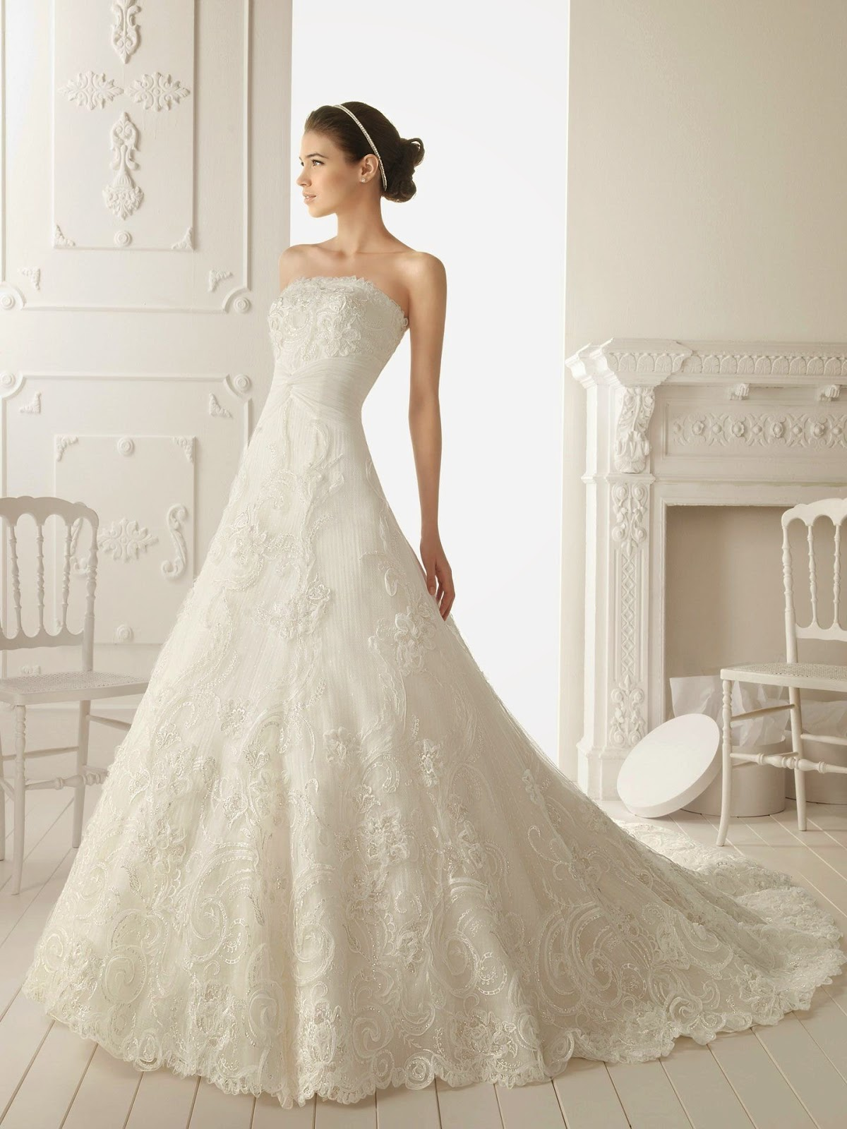 Strapless A Line Wedding Dress Idea