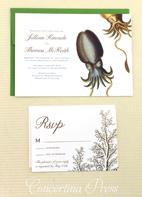 unusual cuttlefish wedding invitations by Concertina Press