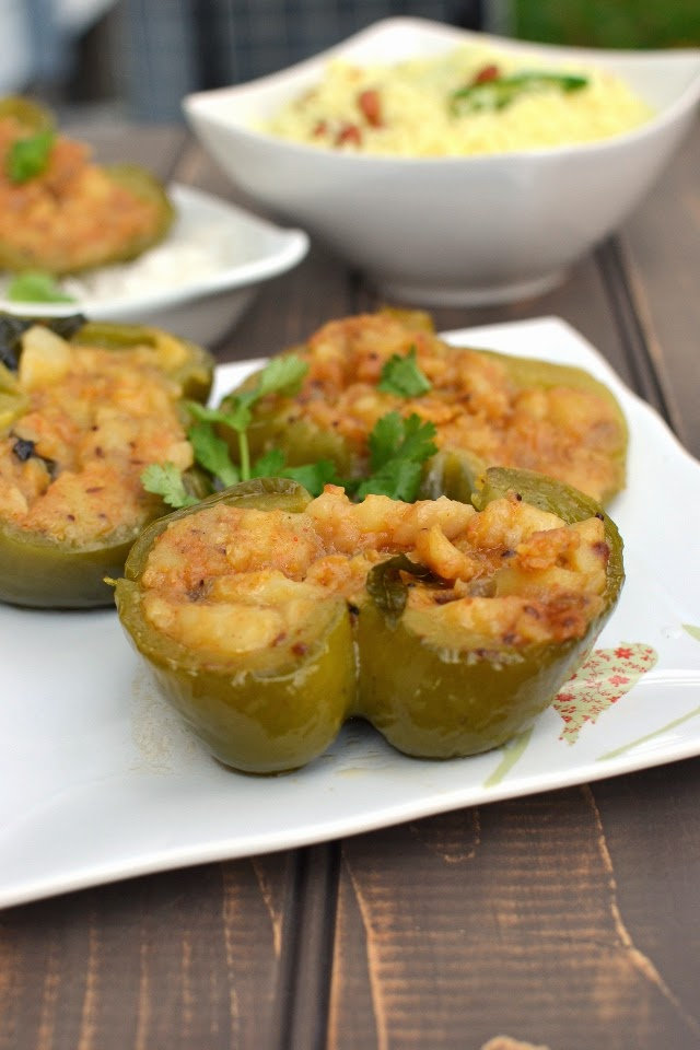 Indian style Stuffed Peppers with Potato Curry