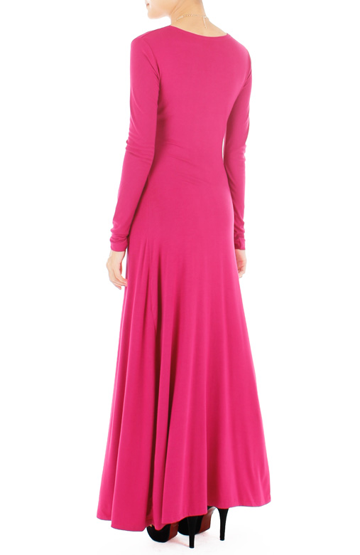 Sophistique Long Sleeve Maxi Dress – Raspberry