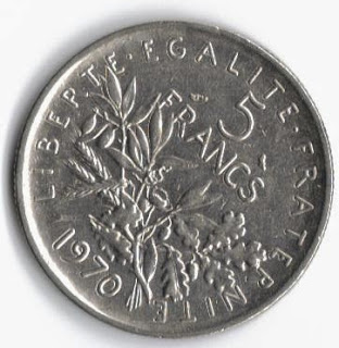 French 5 Franc coin