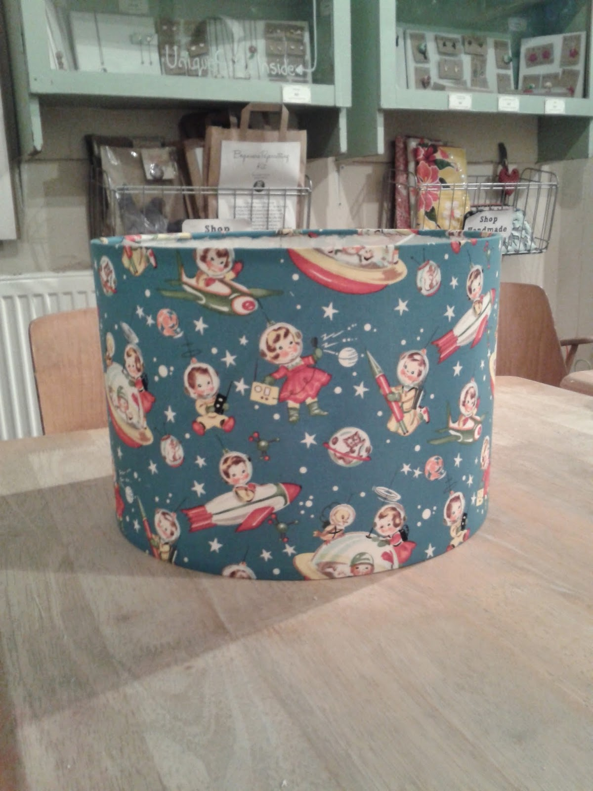 handmade lampshade made with Michael Miller Retro Rocket Rascals