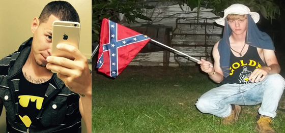 "Harlem Suarez (left) allegedly expressed support for ISIS on Facebook and that was enough for the FBI to send provocateurs to trap him in a ""terror plot"" initiated by the FBI itself. Meanwhile Dylann Roof (right) was posting racist manifestos with this picture holding the pro-slavery battle flag on social media and he went untouched by the FBI's army  of social media watchers, informants and provocateurs, costing the lives of nine black church goers, including a member  of the South Carolina legislature."