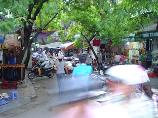 Motorbikes in Hanoi. Traffic in Hanoi (Vietnam)