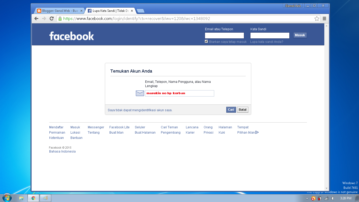 Cara Hack Facebook Dengan Sadap No HP Korban