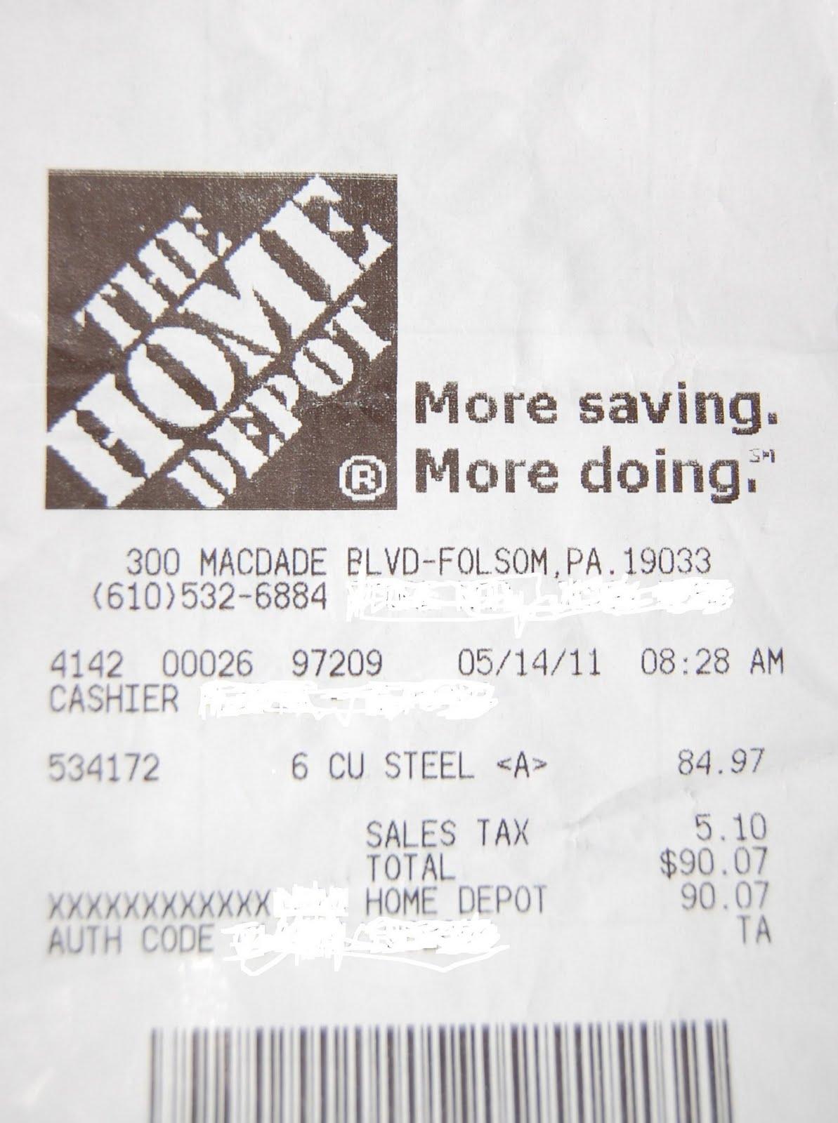 home depot receipt template