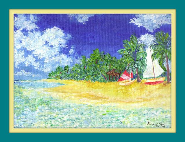 Barbados Seascape in Acrylic, By Shazanna Khan