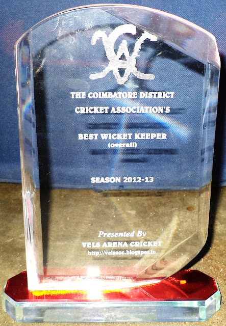 Coimbatore's Best Wicket Keeper Award 2012-13