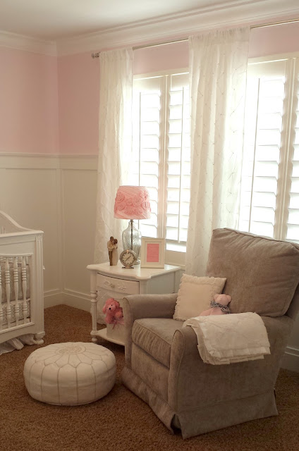 nursery, girl nursery, white nursery, gray nursery, pink nursery, gray and pink, gray and pink nursery, girl, baby girl, crib, white crib, white dresser, pottery barn, pottery barn nursery, gray rocker, board and batten, board and batten nursery, 3/4 board and batten, monogram, name monogram, wooden monogram, pink wall, ballerina pink, benjamin moore, white pouf