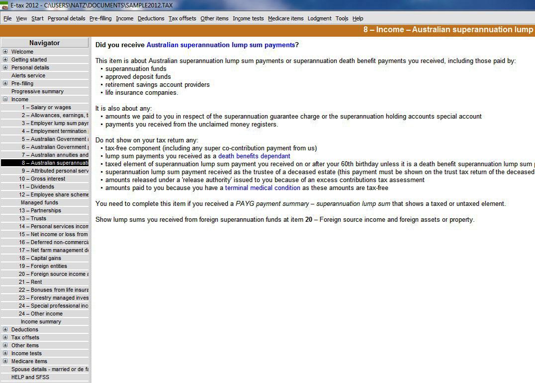 payg payment summary superannuation lump sum instructions