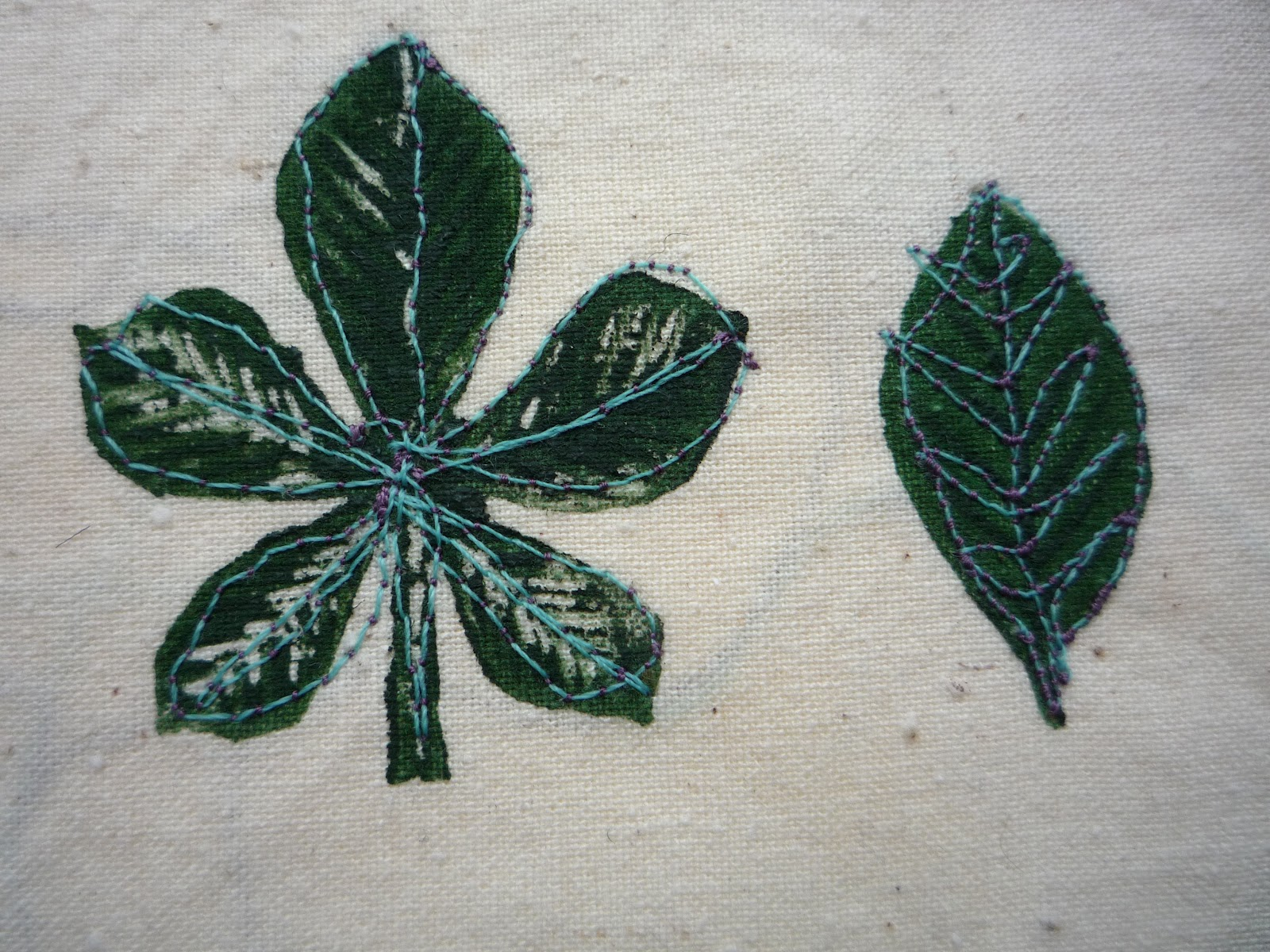 Leaf embroidery rag rose
