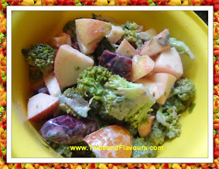 Healthy Broccoli and Beetroot Salad with fat free low calorie salad dressing.