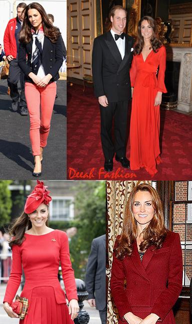 Busana Merah Pilihan Kate Middleton