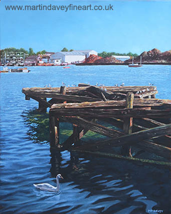 oil painting Southampton Northam River Itchen old jetty with sea birds