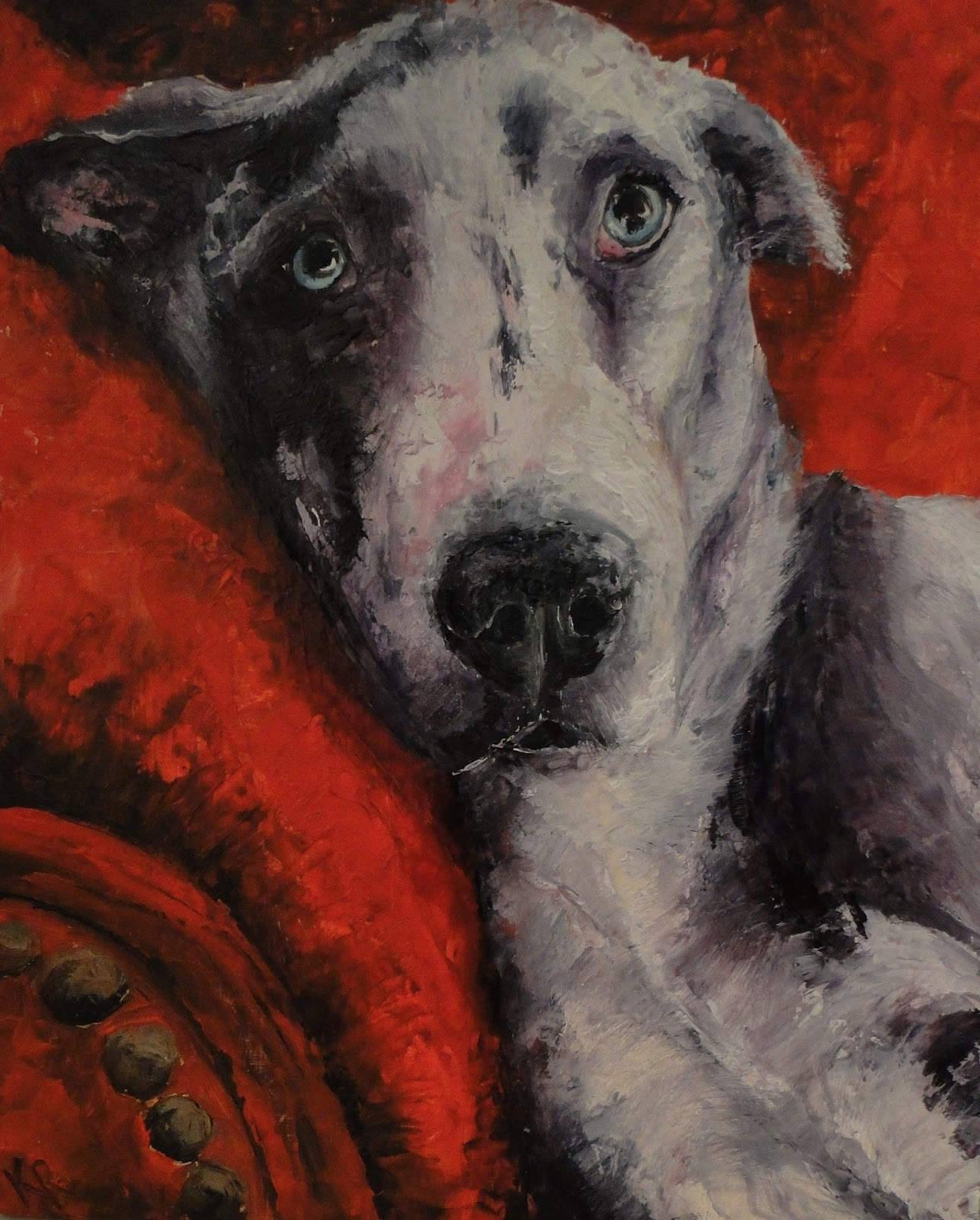 Great Dane painted with a palette knife