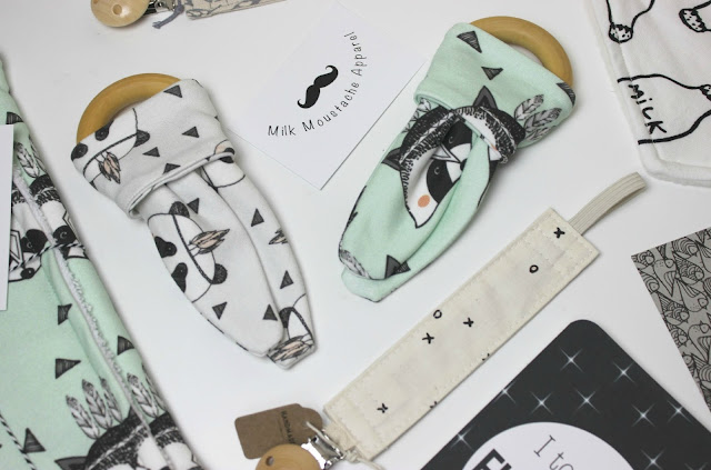A picture of Milk Moustache Apparel Organic Bunny Teething Rings