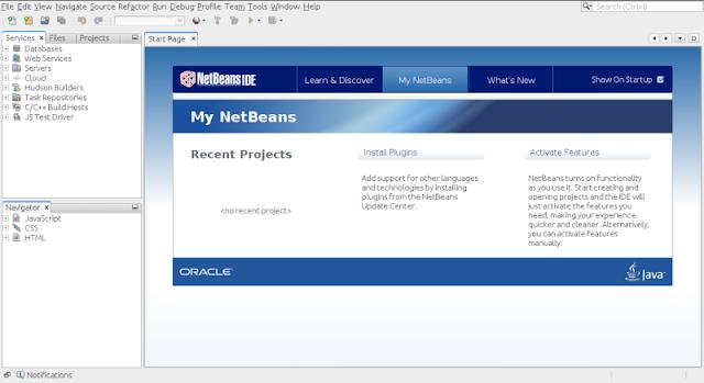 Tampilan antar-muka NetBeans IDE 8.0