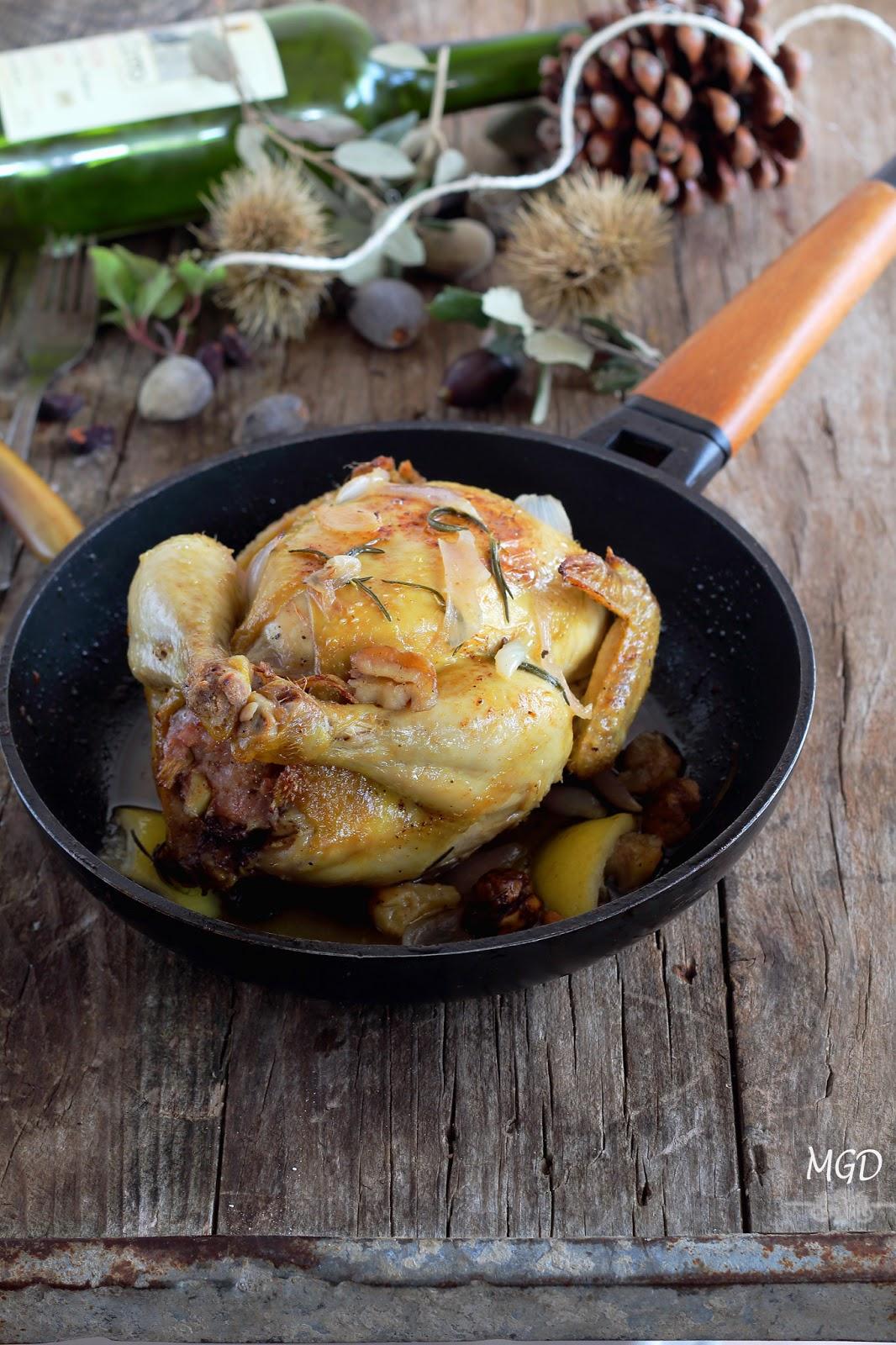 Pollo relleno de carne picada y setas, en 20 minutos