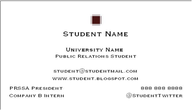 college business cards