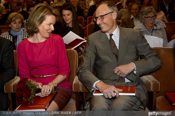 Queen Mathilde of Belgium and Committee member Count Yvan de Launoit attend the first session of the first round of the Queen Elisabeth Violin Competition 2015 at the Brussels' Flagey, on May 4, 2015