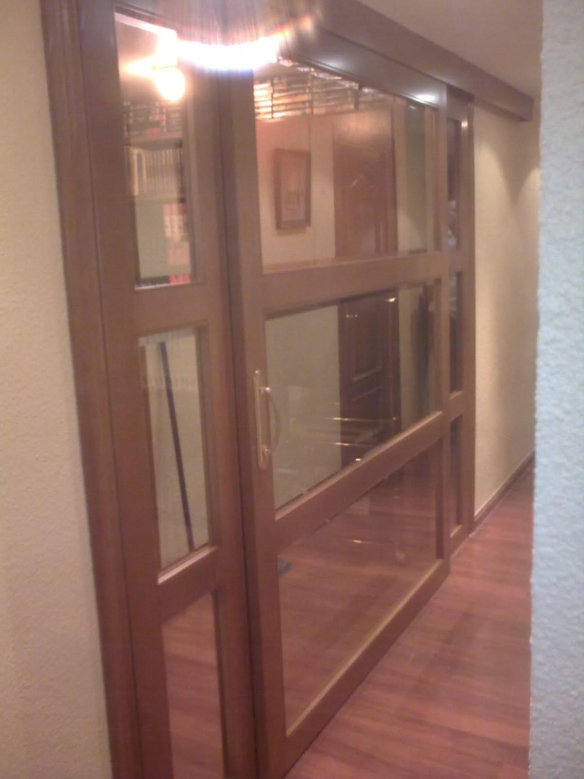 Puerta corredera con cristales muebles cansado zaragoza - Puertas cristal corredera ...