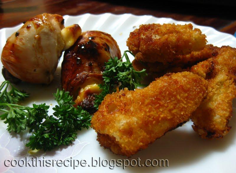 Cheesy Chicken Involtini with chicken fingers