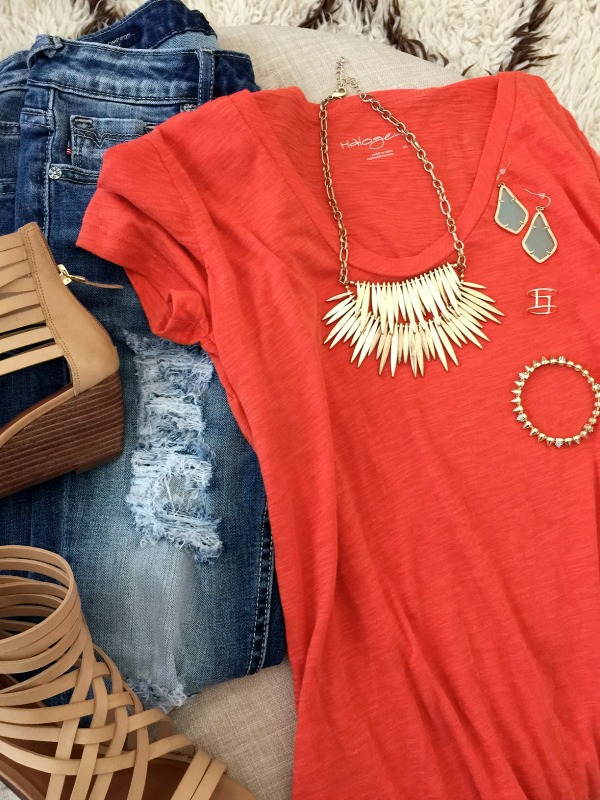 orange halogen tee outfit
