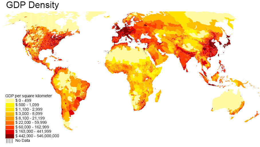 Economics In Pictures World GDP Density