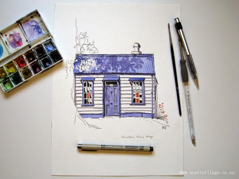 Old Miner's Cottage, Arrowtown, New Zealand - urban sketch by Renee Walden