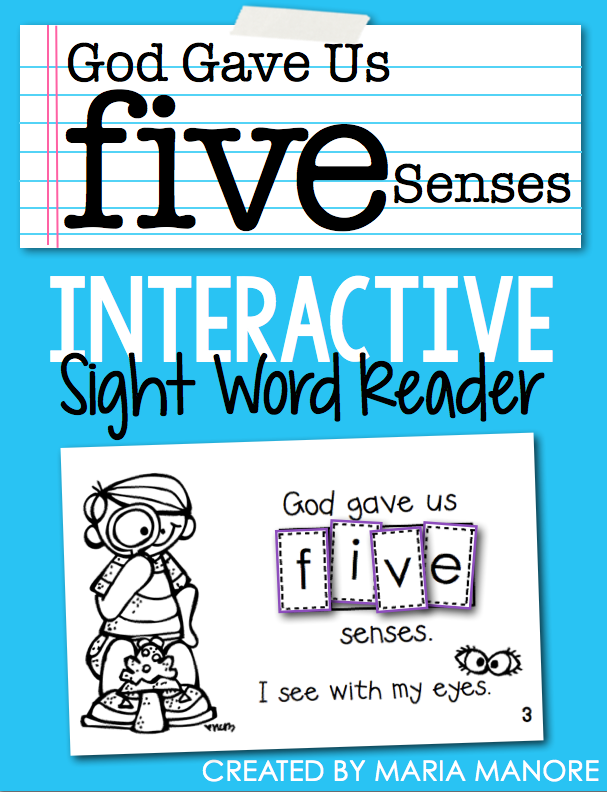 FREE Religious emergent reader for teaching the five senses